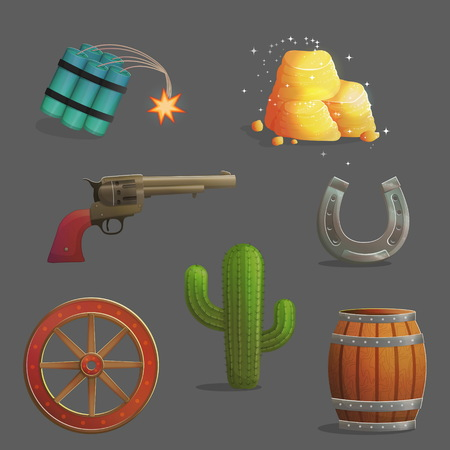Collection of wild west golde hunting accessories and objects. Horseshoe, loaded vintage gun and barrel of gunpowder, cargo wheel. Game and app ui icons.