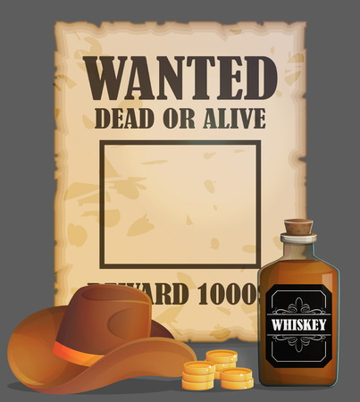 Cowboy wild west wanted poster design template, antique advertisment, criminal quest, cowboy hat, reward gold coins, whiskey bottle. Çizim
