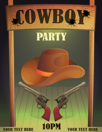 Cowboy wild west saloon bar entrance design template, antique guns and hat, bullet holes, wooden cowboy country saloon door. Stock Illustratie