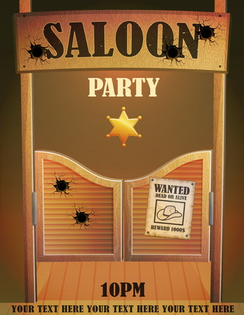 Cowboy wild west saloon bar entrance design template, antique advertisment criminal quest poster, bullet holes, wooden cowboy country saloon door.