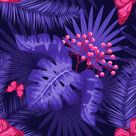 UV ultra violet luminous neon light effect pattern. Seamless repeating jungle rainforest plants, buttrfly and fern background, retro techno acid styling. Illustration