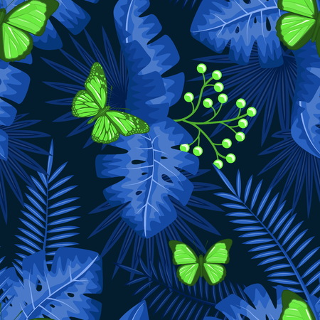 UV ultra violet luminous neon light effect pattern. Seamless repeating jungle rainforest plants, butterfly and fern background, retro techno acid styling.