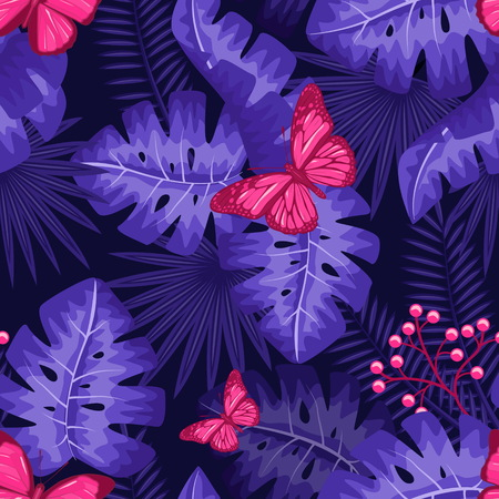 UV ultra violet luminous neon light effect pattern. Seamless repeating jungle rainforest plants, buttrfly and fern background, retro techno acid styling. Stock Illustratie