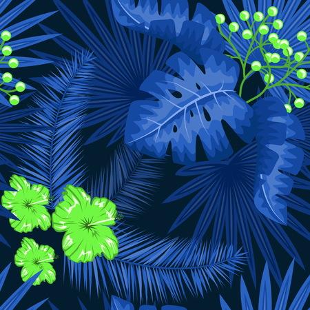 UV ultra violet luminous neon light effect pattern. Seamless repeating jungle rainforest plants, flowers and fern background, retro techno acid styling. Illustration