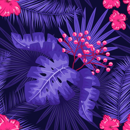 UV ultra violet luminous neon light effect pattern. Seamless repeating jungle rainforest plants, flowers and fern background, retro techno acid styling. Stock Vector - 95387198