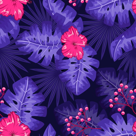 UV ultra violet luminous neon light effect pattern. Seamless repeating jungle rainforest plants, flowers and fern background, retro techno acid styling. Illustration