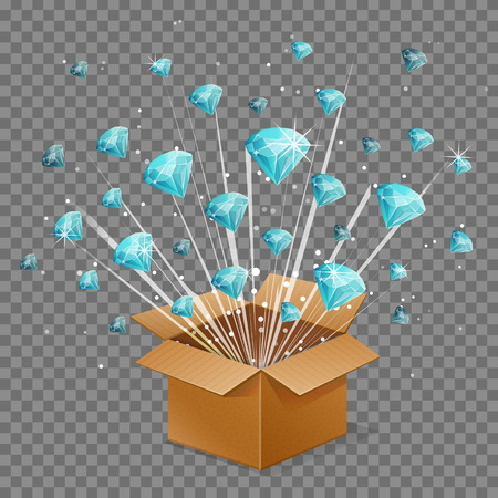 Unboxing present gift surprise box, diamond light beam lence flare explosion, shiny precious gem stome fly out of box. Bonus unlock prize winner illustration.
