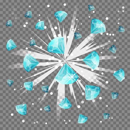 Diamond gem light beam lens flare explosion. Flying precious stone, blindening explosion burst with sparkles. Achievement winner bonus illustration.