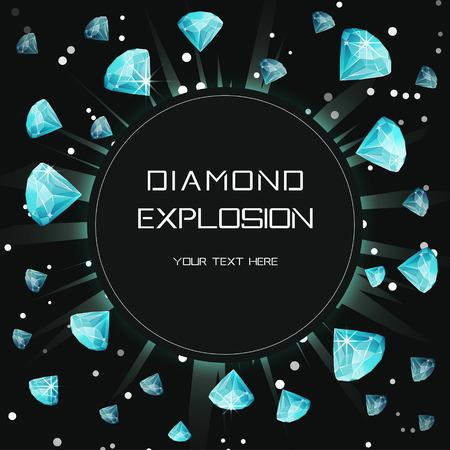 Customizable diamond gem light space explosion eclipse template. Flying shining precious stones lence flare burst print design template for commercial, event, celebration.