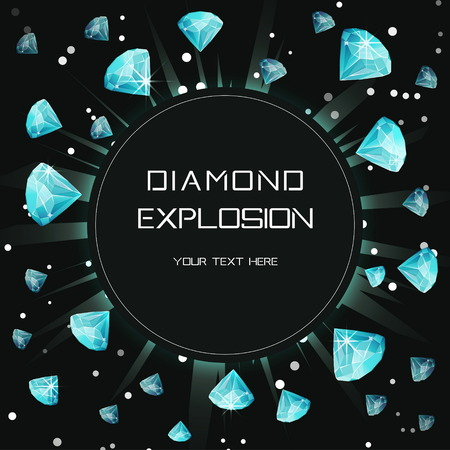 Customizable diamond gem light space explosion eclipse template. Flying shining precious stones lence flare burst print design template for commercial, event, celebration.