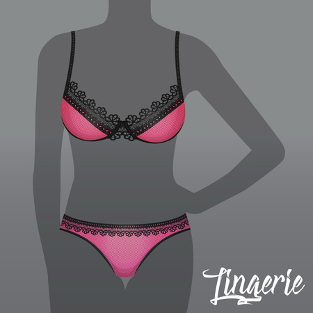 Hot sexy lingerie underwear advertising template, female woman silhouette and pink textured bikini panties and bra with black lace decoration.