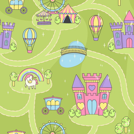 Fantasy fairy tale world princess castle play mat activity game for girls. Daydream imagination story map seamless tiled pattern background for children doll race game and home decoration.
