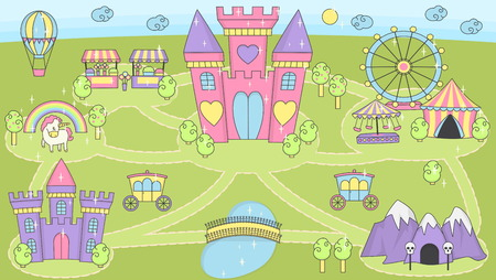 Fantasy fairy tale world princess castle play mat activity board game for girls. Daydream imagination story map pattern background for children doll race game and home decoration.