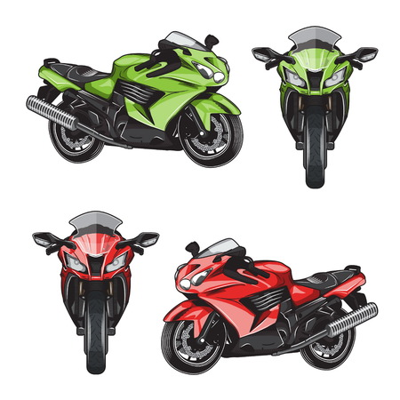 Collection of isolated powerful modern futuristic shiny sport bike illustrations. Front and side view morcycle, motorbike illustrations.