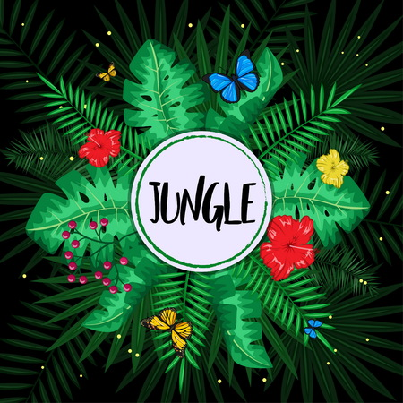 Exotic tropical nature environment editable template. Jungle rainforest summer green plants and flowers, butterfly and fern background.