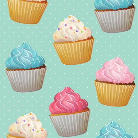 Seamless cute romantic cupcake muffin dessert pastry repeating tiled patten. Delicious cupcakes with coloured cream icing topping on dot mint background. Illustration