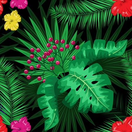 Exotic tropical nature environment repeating pattern background. Seamless repeating jungle rainforest summer green plants, flowers and fern background.