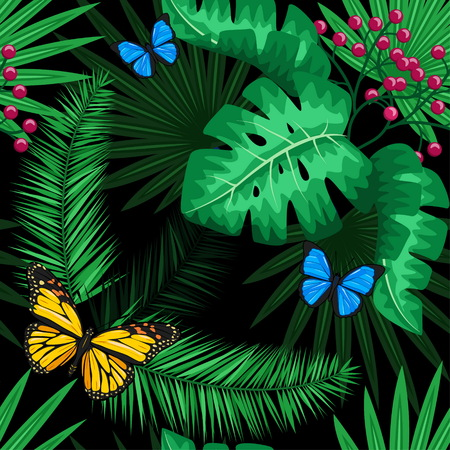 Exotic tropical nature environment repeating pattern background. Seamless repeating jungle rainforest summer green plants, butterfly and fern background. Çizim