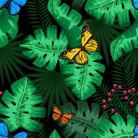 Exotic tropical nature environment repeating pattern background. Seamless repeating jungle rainforest summer green plants, butterfly and fern background. Stock Illustratie
