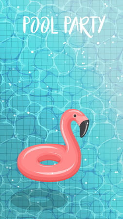 Clean blue sparkling water surface with ripples. Swimming pool HD screen wallpaper background, rubber flamingo swimming circle, pool outdoor party template, Stock Illustratie