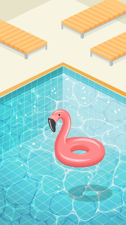 Clean blue sparkling water surface with ripples. Swimming pool HD screen wallpaper background, rubber flamingo swimming circle, pool outdoor party template, Illustration