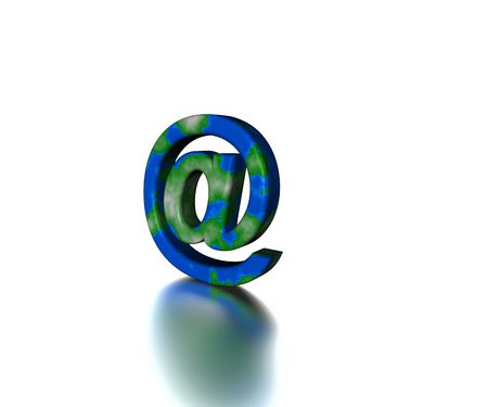 Email symbole with planet texture photo