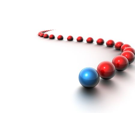 Array of balls in red with blue leader