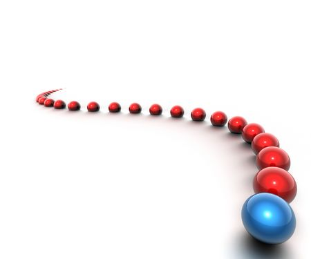 Array of red balls with blue leader Stock Photo