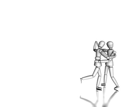 Figures dancing on white background photo