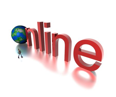 3d online text with globe Stock Photo