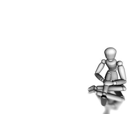 Figure sitting on white floor posing Stock Photo