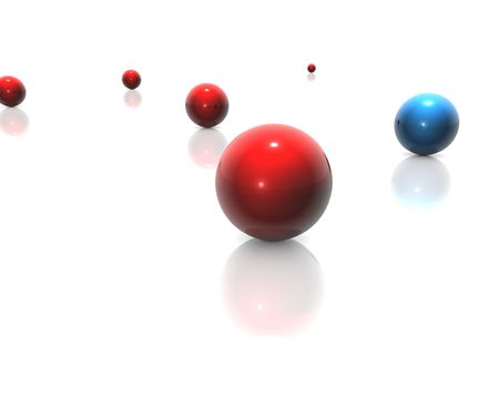 Red and blue balls on white background