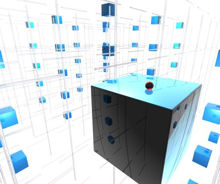 Blue Cubes with red ball Stock Photo