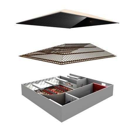 exploded: Exploded view of commercial building Stock Photo