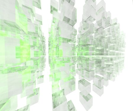 Array of green cubes in white space