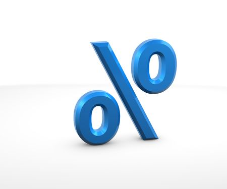 subtraction: Percentage Sign in 3D on white background