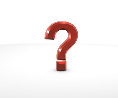 Question Mark in 3D on white background