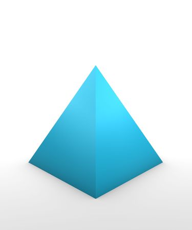 pyramid shape in 3D on white background Stock Photo
