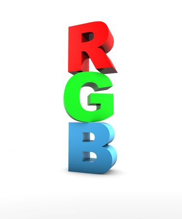 RGB Letters in 3D on white background photo