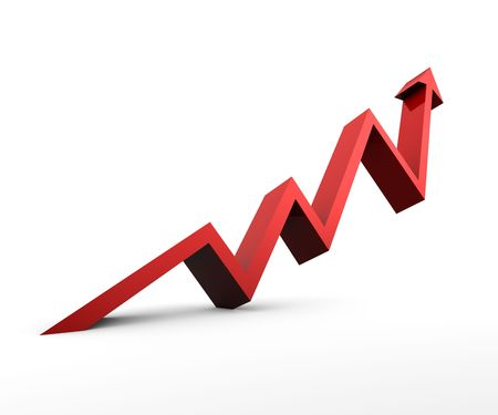 upward graph: Red Arrow pointing upwards on white background Stock Photo