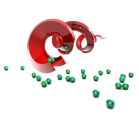 Red bending and twisting t section with green balls rolling around on white background