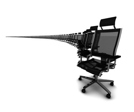 Multiple copies of office chair in bendy line on white background