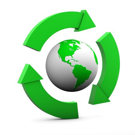 Environmental Sign with globe showing USA in green on white background Stock Photo