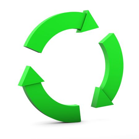 Green Circular Environmental Sign on white background Stock Photo