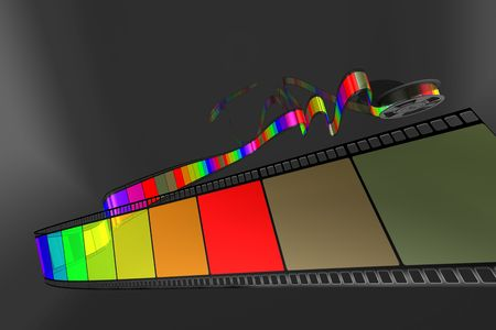 Film strip coming towards view showcasing content on black background