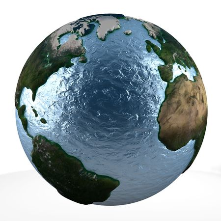 displaying: 3D earth globe on white background displaying some of the USA, Europe and Africa Stock Photo