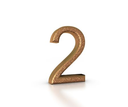 Gold Font of the number two on white background