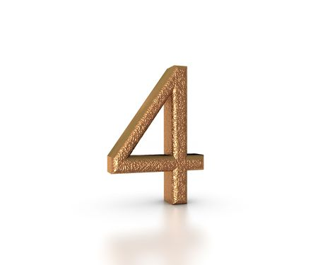 Gold Font of the number four on white background