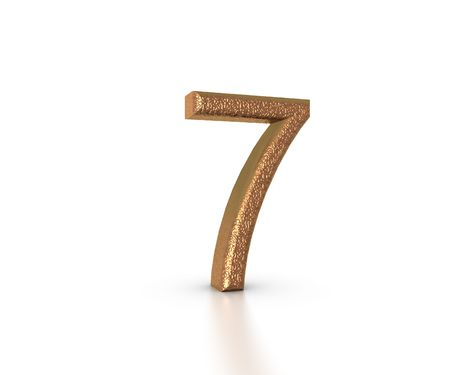Gold Font of the number seven on white background Stock Photo