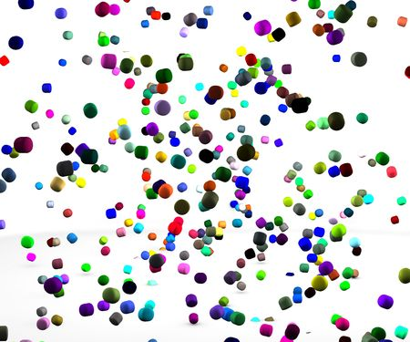 Color rain falling down in shape of odd drops on white background